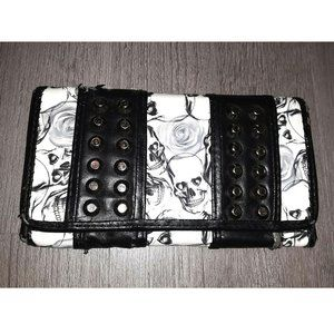 Gothic Black and White Skulls and Roses Wallet